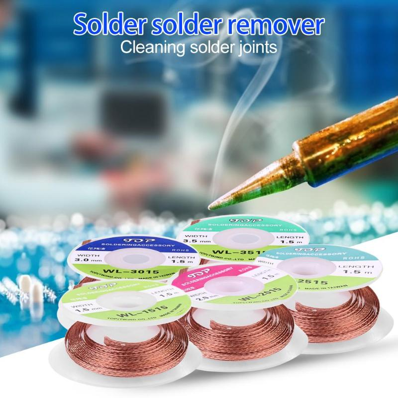 1/5pcs 1.5m Length Desoldering Braid Welding Solder Remover Wick Wire Lead Cord Speeding Up Sn Absorption And Low Residual Flux
