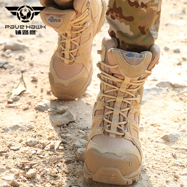 Desert Army Tactical Military Leather Boots Men Shoes color: Black|Sandy