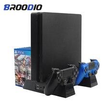 소니 플레이 스테이션 4 PS4/PS4 슬림/PS4 프로에 대한 다기능 수직 콘솔 냉각 스탠드 컨트롤러 충전기 충전 스테이션