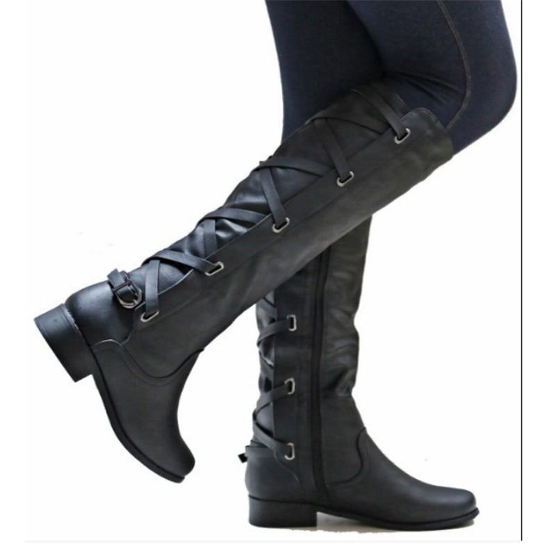 New Women Mid Calf Boots Autumn Winter Buckle Flat Heels Shoes Sexy Steampunk Patent Leather Ladies Snow Boots Sepatu Wanita