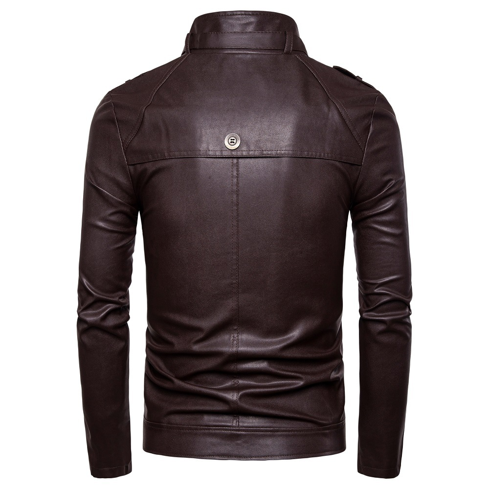 Hot Selling 19 Autumn And Winter New Style Men Fastener Decoration Locomotive Stand Collar Washing Leather Coat Py06