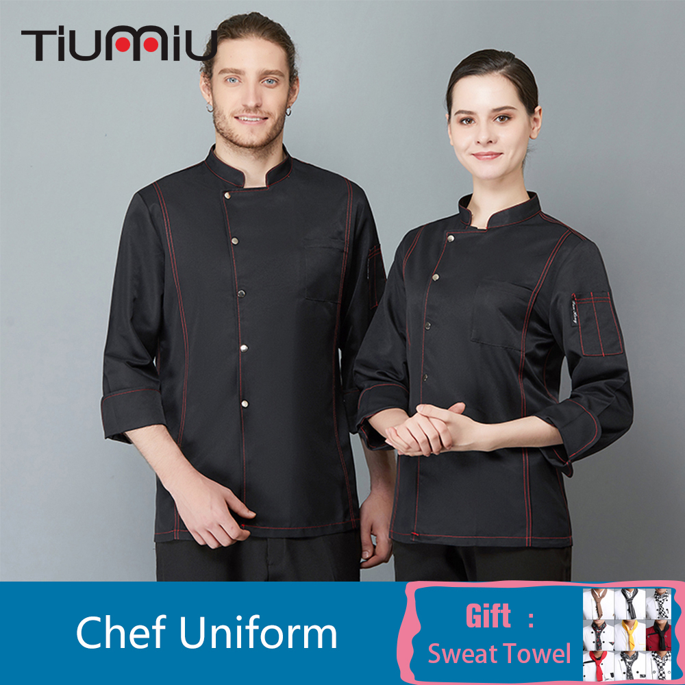2019 New Long Sleeve Head Chef Uniform Hotel Restaurant Kitchen Overalls Bar Barber Shop Cafe Waiter Cook Coat Chaqueta De Chef