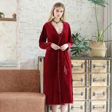 Осенне зимняя бархатная Пижама женский теплый халат на бретельках