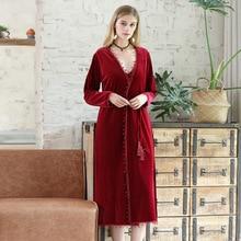 Pajamas Velvet Homewear Sling Warm-Robe Women's Ladies Winter And Autumn Long Thick Medium