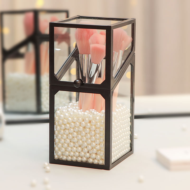 Стеклянная коробка для косметических кистей с пылезащитной крышкой Органайзер для кистей для макияжа стеллаж для хранения лака для ногтей/карандаша/косметики Органайзер|Ящики и баки для хранения|   | АлиЭкспресс