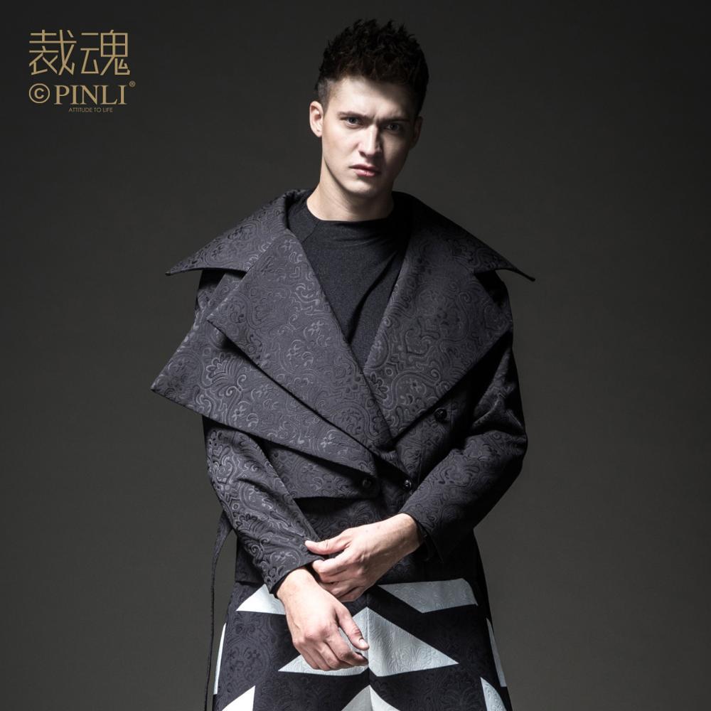 Free Shipping New men's Male personality fashion casual Soul Winter Slim Lapel Jacquard Jacket Dark Black Trend BC184104043