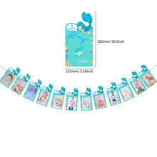 Newborn To 12 Months Photo Banner Birthday Party Supplies First 1st One Year Old Mermaid Ocean Theme Party Decoration GIft DGU31(China)