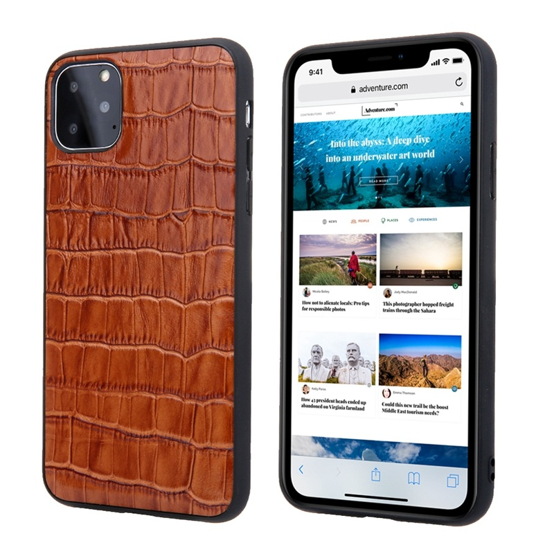 Solque Genuine Leather Crocodile Style Case for iPhone 11/11 Pro/11 Pro Max