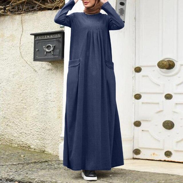 Plus Size Denim Blue Sundress 2021 Autumn Women Dubai Abaya Long Dress Casual Long Sleeve Muslim Dress Loose Vestidos Kaftan 1