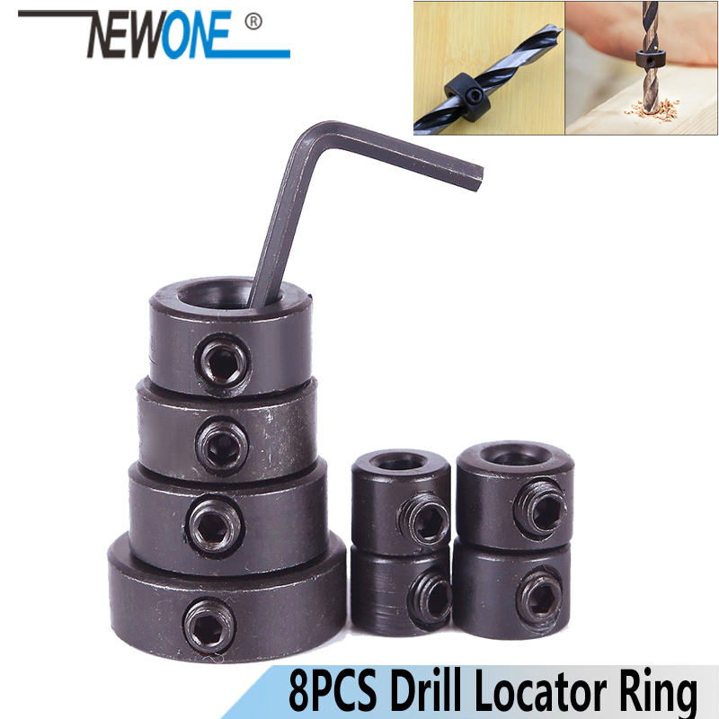 NEWONE 8pc/sets Metric Drill Bit Shaft Depth Stop Collars Woodworking Drill Bit Limited Ring Collar