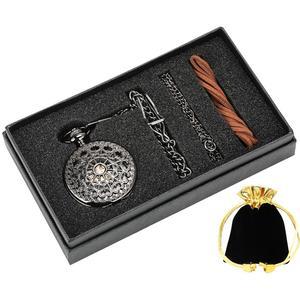 Image 3 - Moda içi boş çiçek gümüş el sarma mekanik cep saati lüks gümüş Metal Web durumda el sarma İmza setleri + kutusu çantası