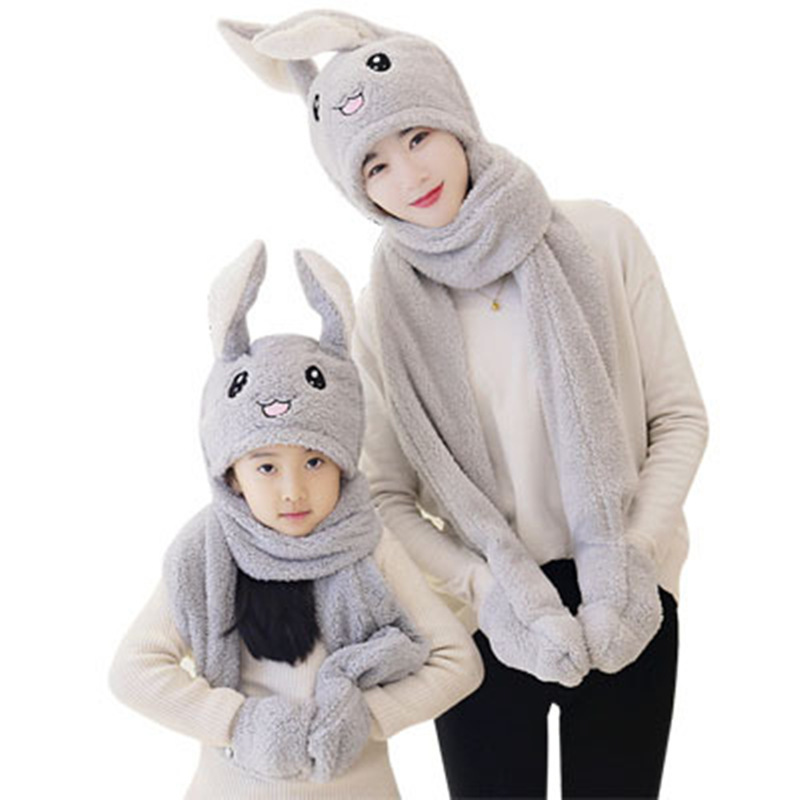 Unisex 3 In 1 Scarf Hat Glovest Funny Air Float Filling Ear Moving Cap Cartoon Plush Stuffed Toys Gifts For Child And Adult