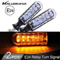 2 pièces Moto Clignotants E-mark E24 LED clignotant Signal L'eau Courante Relais Intégré 12LED Clignotant Automatique Indicateurs