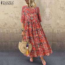 2020 Women Vintage Floal Printed Sundress ZANZEA Autumn 3/4 Sleeve Party Dress Plus Size Bohemian Vestido Robe Femme Dresses