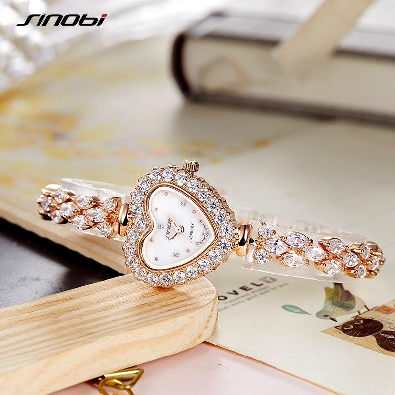 SINOBI NEW Fashion Luxury Woman Diamonds Wrist Watches Stainless Steel Women Watch Dress Limited Ladies Geneva Quartz Clock 2020