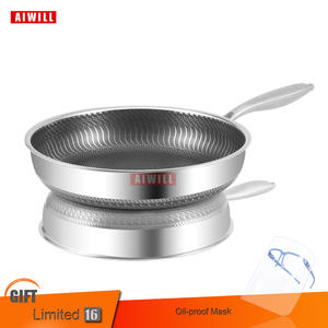 AIWILL High Quality New Arrival 304-Story Steel Frying Pan Nonstick Pan Fried Steak Pot Electromagnetic Furnace General