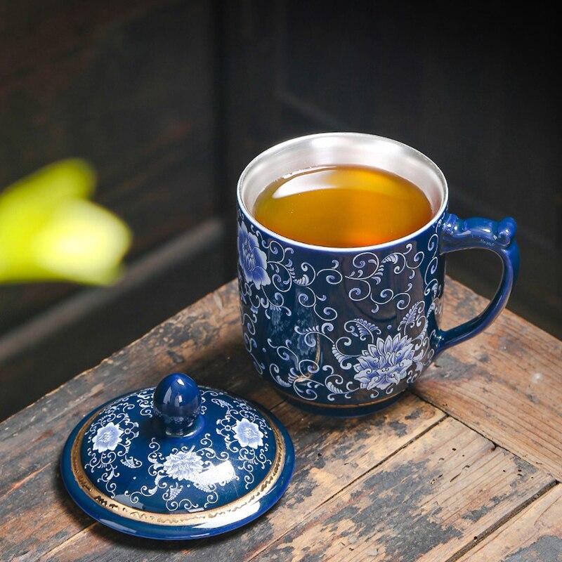 Jingdezhen 999 argent thé tasse émail en céramique café tasses Vintage tasse bureau maître eau tasses artisanat Collection comme cadeau de noël - 5