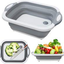 Folding Cutting Board Multifunctional Collapsible Sink Drain Basket Washable Vegetables Strainer Kitchen Storage Organizer IU006