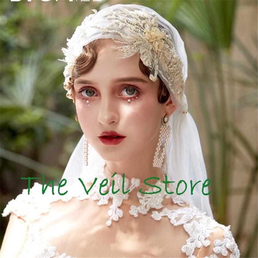 Long Vintage Juliet Cap Bridal Vedding Veil Ivory Tulle Champagne Beaded Applique Veil For Brides Velo De Negra Voile De Mariage