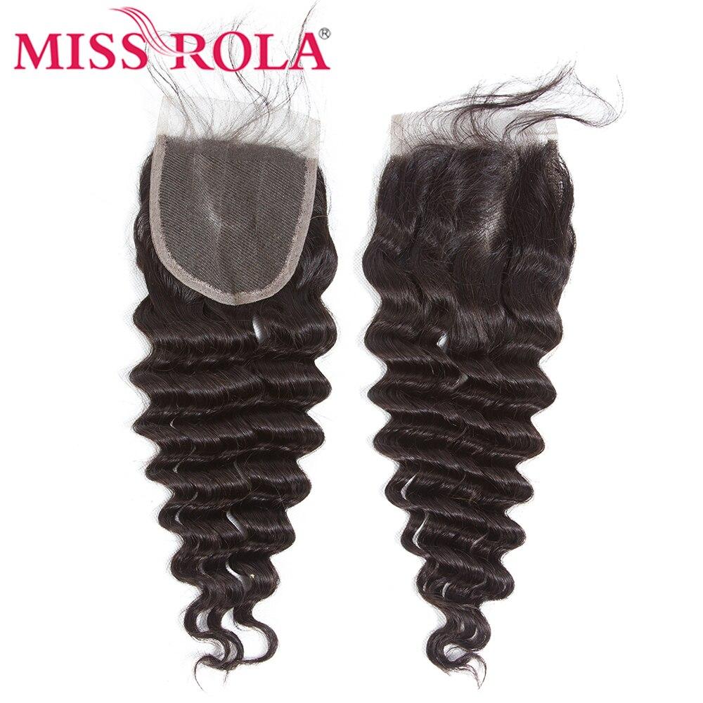 Miss Rola Lace Closure 4x4 Deep Wave Hair Brazilian Hair 100% Human Hair Natural Color Remy Hair Lace Closure