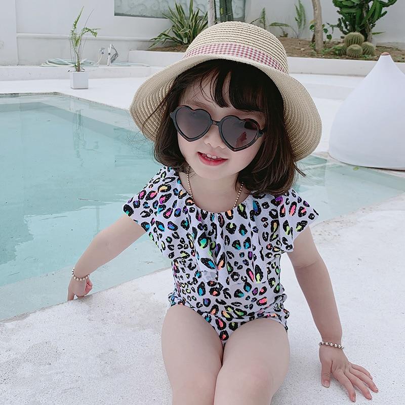 INS New Style KID'S Swimwear Girls One-piece Floral Leopord Pattern Sun-resistant Holiday Fashion Swimwear Baby Swim Bathing Sui