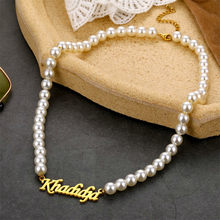 Personalisierte Brief Angepasst Name DIY Artical Schrift Mode Edelstahl Perle Halskette Platte Geschenk Für Temperament Frauen