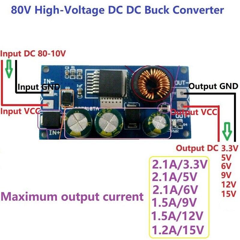 2A Dc 80 в 72 в 64 в 48 в 36 В 24 В до 15 в 12 В 9 в 6 в 5 в Hv понижающий dc-dc преобразователь модуль питания