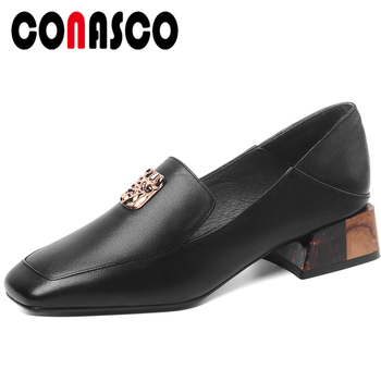 CONASCO 2020 Spring Summer New Woman Pumps Genuine Leather Concise Office Lady Casual Metal Decoration Square Heels  Shoes Woman