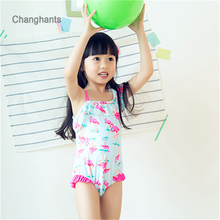 Girls One Piece Swimwear Light Blue with Pink Flamingos pattern 1 14 Y Kids Bathing suit