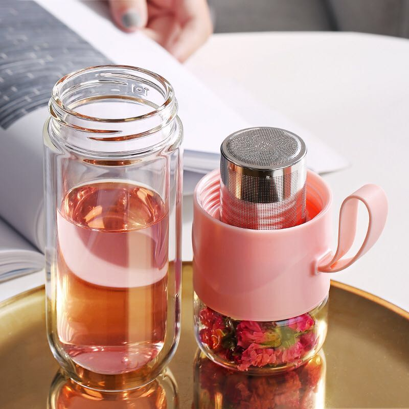 390ml New Double Glass Water Bottle Girl Student Portable Creative Tea Separation Cup Mug Milk Gift Bottle for Water with Rope image