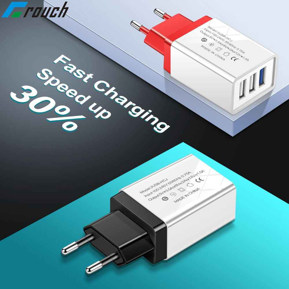 Crouch 5V2A 3U USB Charger Uni Eropa US Adaptor Perjalanan Charger Pengisian untuk Apple Iphone Samsung Xiaomi Huawei Charger Micro USB CABLE