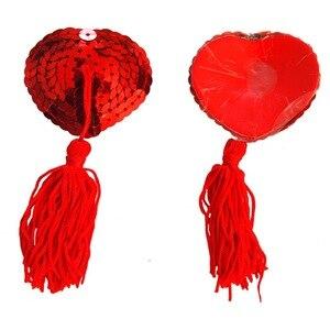 Image 2 - 1 זוג מין לאישה סקסי נצנצים פטמות עטיפות עם גדילים לב צורת מין מוצר חזה מדבקות פטמת מדבקות פשטידות