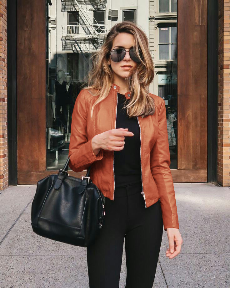2020 new product hot sale autumn and winter women's fashion leather PU suit jacket 6036
