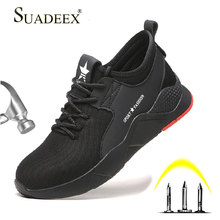 цена SUADEEX Work Safety Shoes Breathable Men Construction Working Sneakers Steel Toe Shoes Anti-smash Puncture Proof Safety Boots онлайн в 2017 году