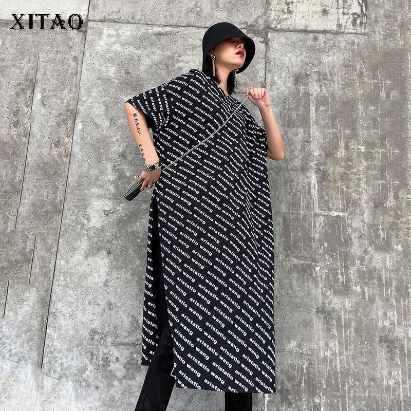 XITAO Streetwear Short Sleeve T Shirt Loose Plus Size Trend Long Tshirt Fashion Letter Print Graphic Tees Women Wild Top DMY3172