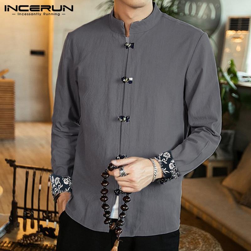 INCERUN Chinese Traditional Shirt Men Long Sleeve Solid Button Cotton Camisa Mandarin Collar Retro Casual Mens Shirt Streetwear