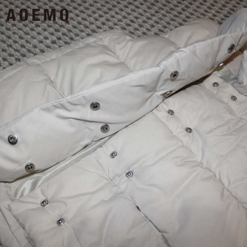AOEMQ, abrigo de algodón, prendas de vestir, chaleco de invierno, sección gruesa, chaleco de abrigo, abrigo con cuello doblado, abrigo de temporada fría sólido, ropa de mujer