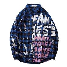 2019 Autumn Graffiti Shirt Blouse Man/Women Fashion Outwear Letter Print Long Sleeve Plaid Hip Hop Tops