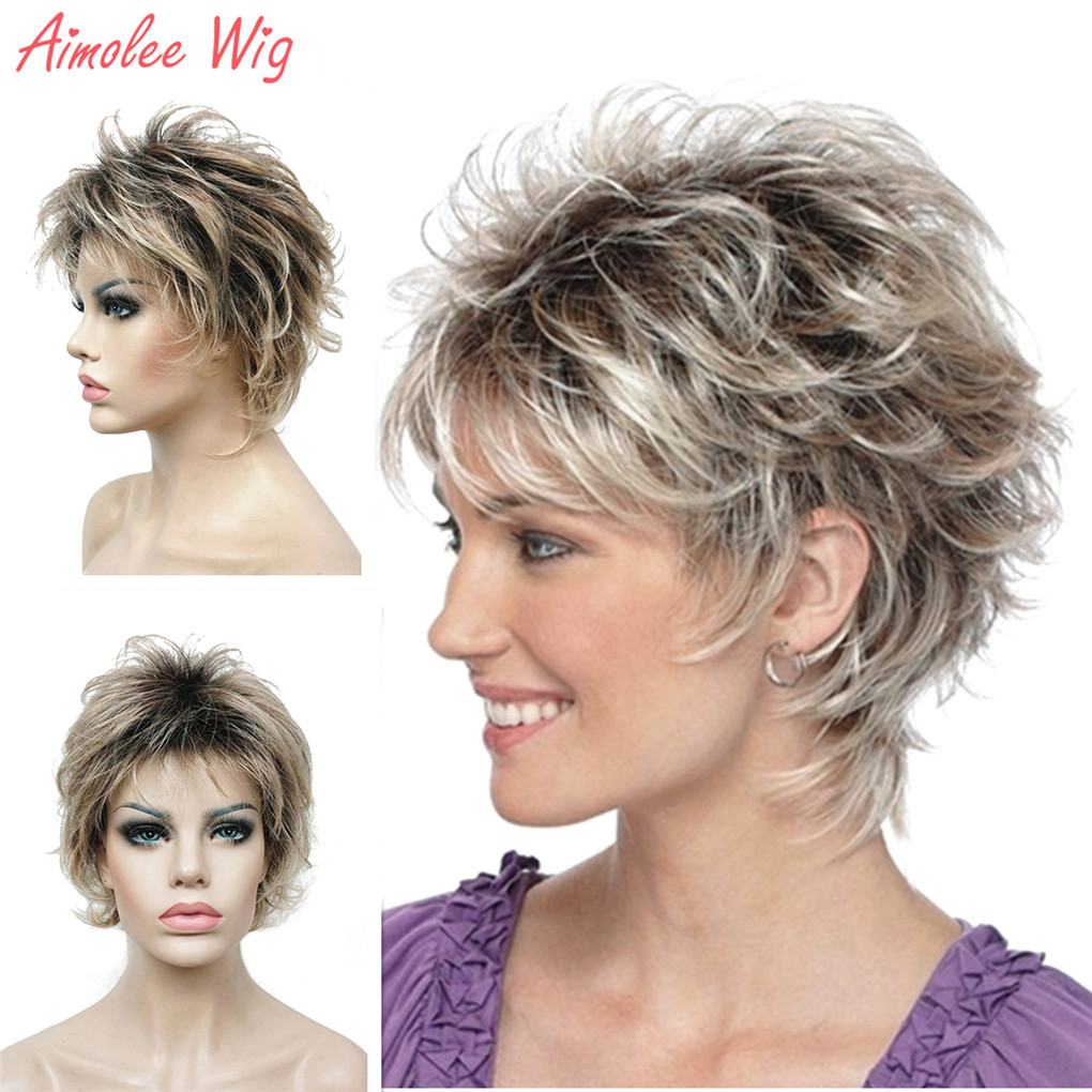 Women's Synthetic Wigs Short Straight Layered Pixie Cut Bloned Natura Wig Hair