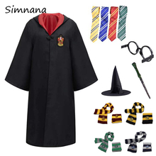 Cosplay potter Costume Hermione School Uniform Slytherin Ravenclaw Gryffindor Hufflepuff Potter Magic Robe Scarf Haloween Gifts платье женское зеленый