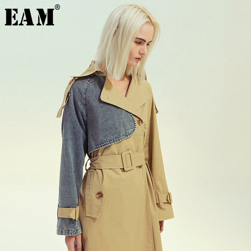 [EAM] Women Khaki Denim Split Big Size Long Trench New Lapel Long Sleeve Loose Fit Windbreaker Fashion Tide Spring 2020 1M985
