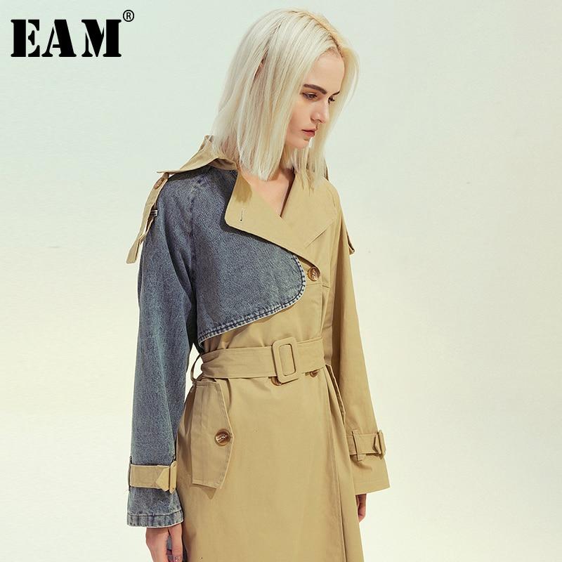 [EAM] Women Khaki Denim Split Big Size Long Trench New Lapel Long Sleeve Loose Fit Windbreaker Fashion Tide Spring 2020 1M985