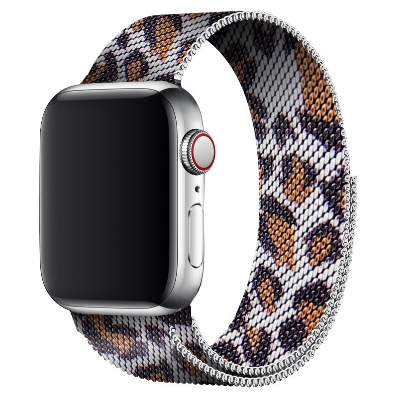 Gray Leopard Watch Band 40mm 44mm For Apple Watch Series 4 Stainless Steel Magnetic Strap 38mm Metal Bracelet 42mm For Iwatch 2