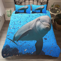 Bed Linen Sets Bedcover 3D Dolphin Printed Double bedding Underwater World Egyptian Cotton Bedroom Clothes