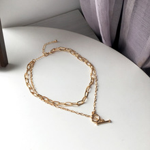 Trendy Jewelry Chain Necklace Popular Design Two Layer Metal Golden Plating Pendant Necklace For Lady Female Party Gifts