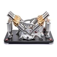 Металлический загрузочный V4 4-цилиндровый параллельно Двигатель Стирлинга модель микро двигатель внутреннего сгорания, модель-Цвет в случайном порядке