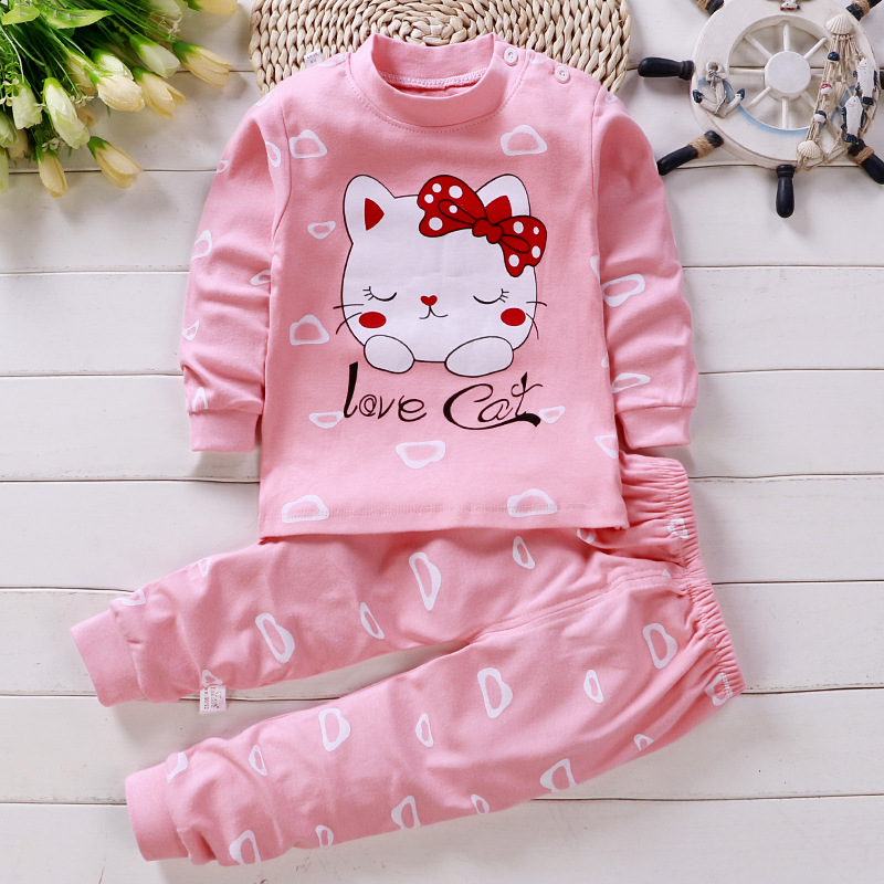 Baby Girl Clothing Set Cartoon Cat Clothing Long Sleeve T Shirt + Pants Suits Infant Pink Outfit