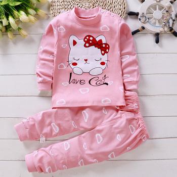Zestaw ubranek dla dziewczynki kot kreskówkowy odzież koszulka z długim rękawem + spodnie garnitury niemowlę różowy strój tanie i dobre opinie COTTON Na co dzień O-neck Zestawy Swetry Pełna REGULAR Pasuje prawda na wymiar weź swój normalny rozmiar Bawełna czesana