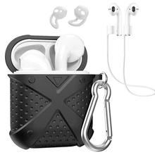 New Arrival Soft Silicone Protectored Case Ear Cap Anti-loss Lanyard Set for Apple AirPods 1/2