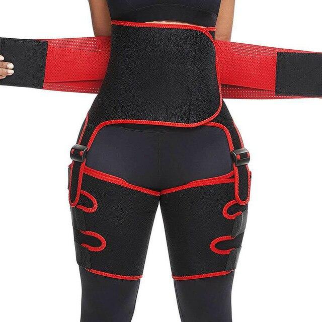 Genuine Yinuo Female Three-in-one Hip Belt Burst Sweat SBR Belt Sports Bodybuilding Adjustable One-piece Waist Belt Leg Belt